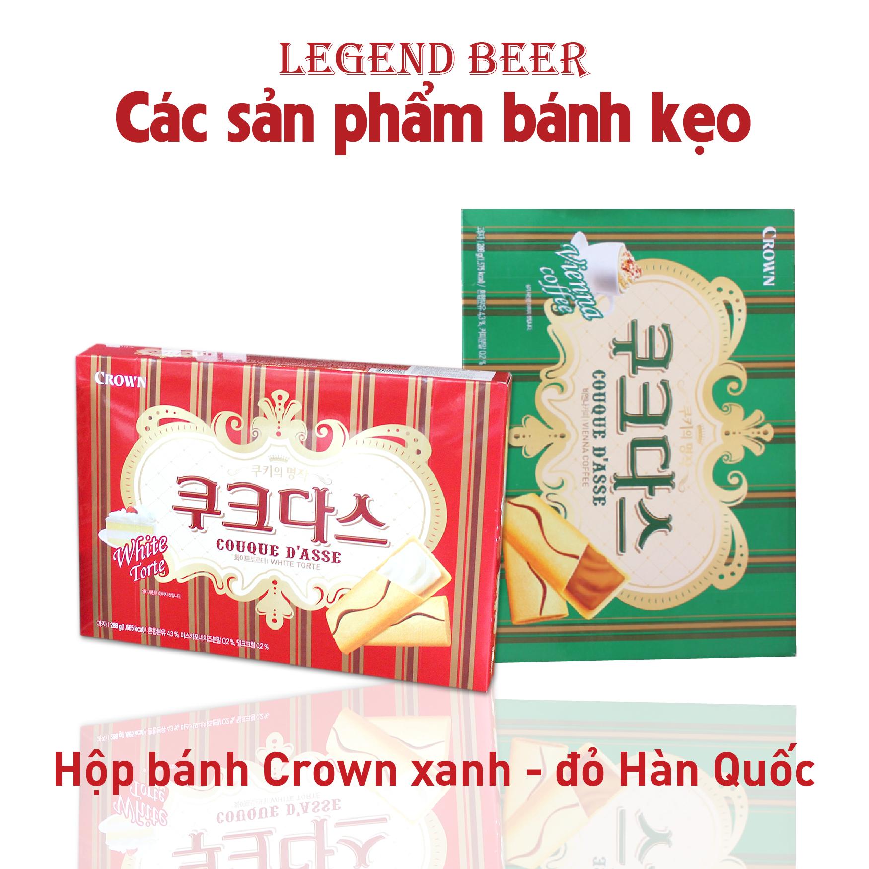 Hộp bánh Crown xanh - đỏ Hàn Quốc